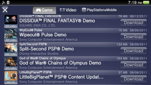 PSP Demos
