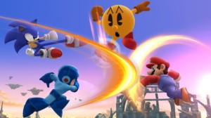 Mario, Sonic, Mega Man, and Pac-Man battling in SSB for Wii U.